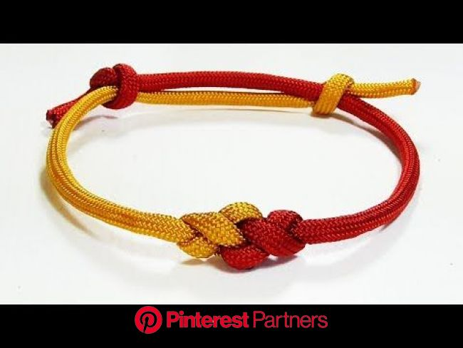 Paracord Bracelet: Two Color Eternity Knot Frindship Bracelet With Adjustable Sliding Kn… | Paracord bracelet tutorial, Sliding knot bracelet, Paracor