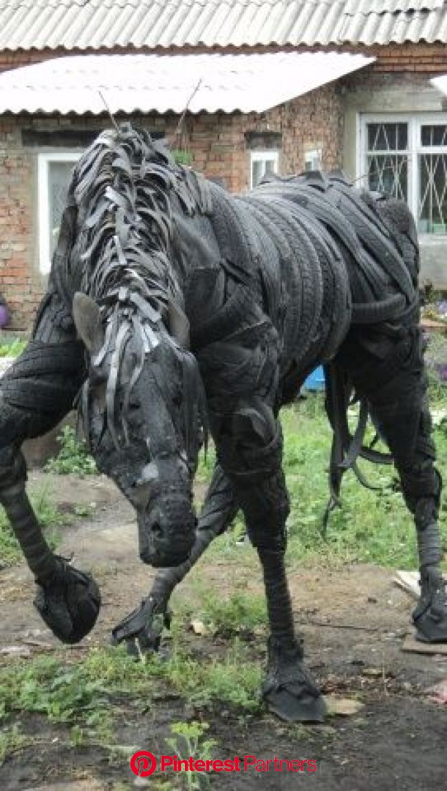 .  Articles made of tires  horse | Tire art, Tin can flowers, Old tires