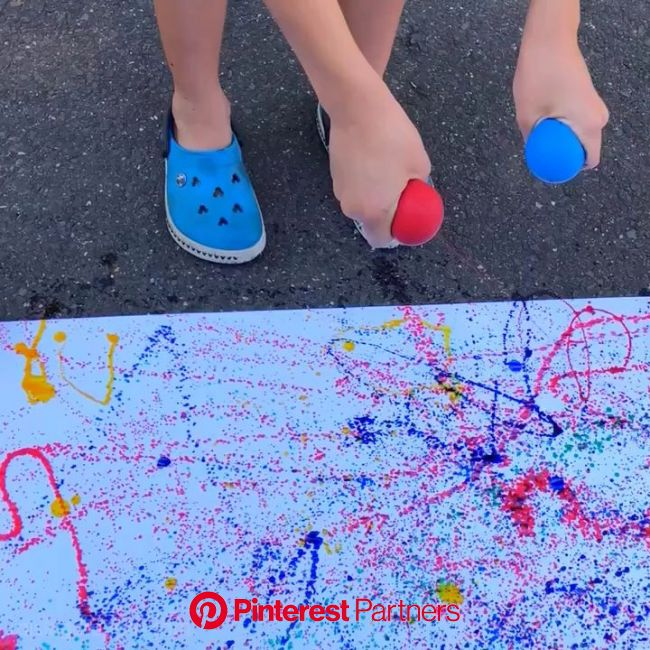 Balloon Splatter Painting * ages 3+ ⋆ Raising Dragons [Video] [Video] | Painting activities, Art for kids, Kids art projects