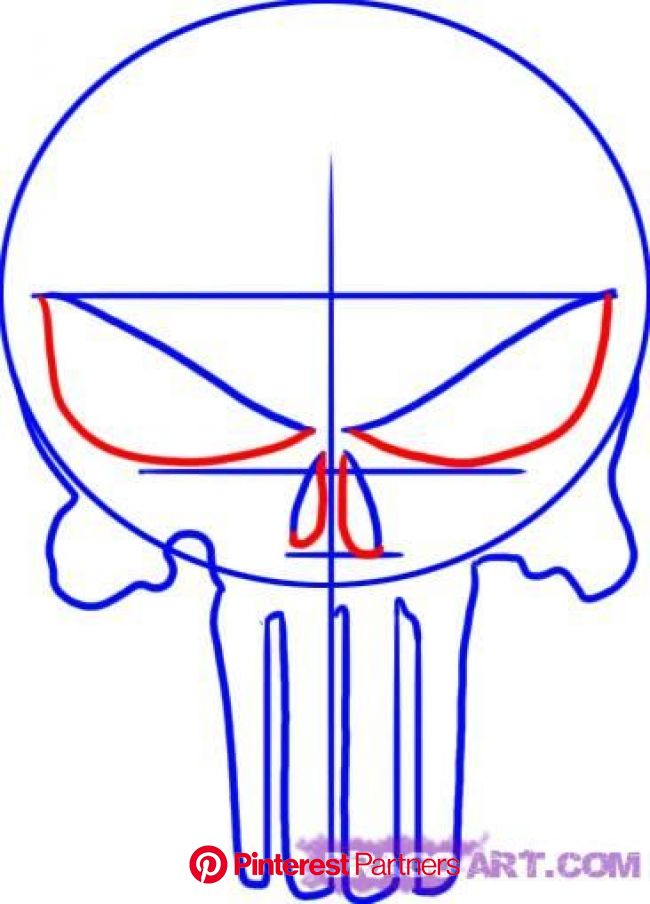 How to Draw the Punisher Skull, Step by Step, Marvel Characters, Draw Marvel Comics, Comics, FREE Online Draw… | Punisher skull, Cool woodworking proj