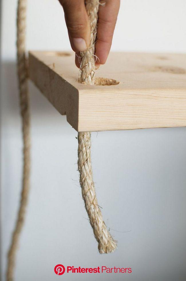 DIY Hanging Rope Shelves | Collective Gen | Hanging rope shelves, Hanging wood shelves, Diy hanging shelves