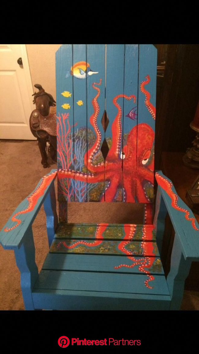 The Octopus Chair by Tamisha Alonzo #adirondackchairs in 2020 | Painting kids furniture, Painted chairs, Art furniture