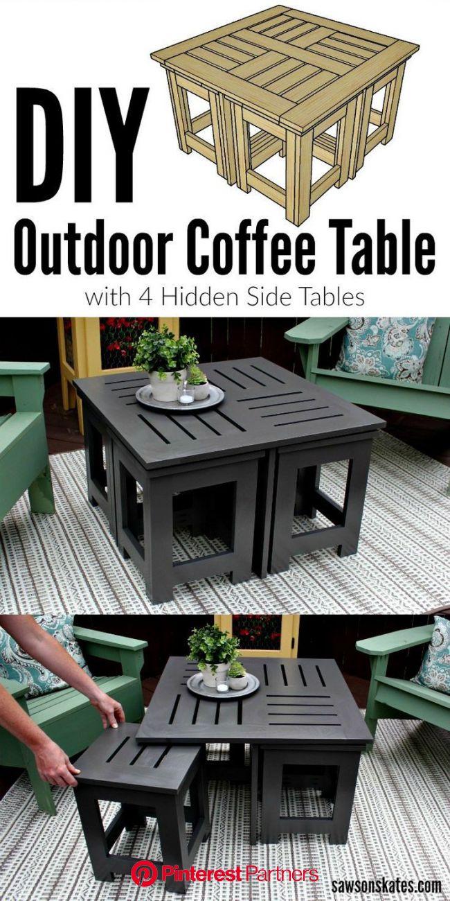DIY Outdoor Coffee Table (Unique + Creative) | Saws on Skates® | Diy outdoor furniture, Diy coffee table, Diy furniture