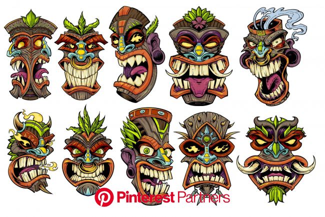 Tiki Heads | Tiki head, Tiki tattoo, Tiki faces