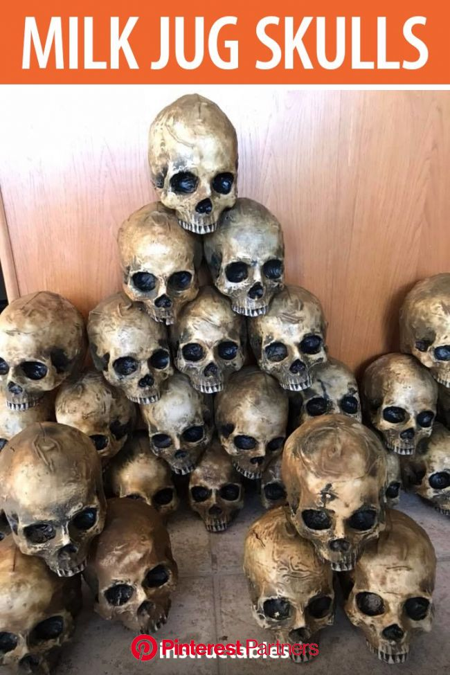 Milk Jug Skulls | Dollar store halloween, Diy halloween decorations, Halloween school treats