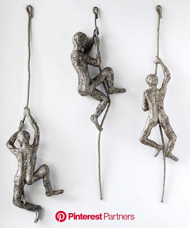 Contemporary art, Climbing man sculpture on the rope, Decorative art, wall hanging, abstract 3d … | Wire art sculpture, Climbing man sculpture, Metal