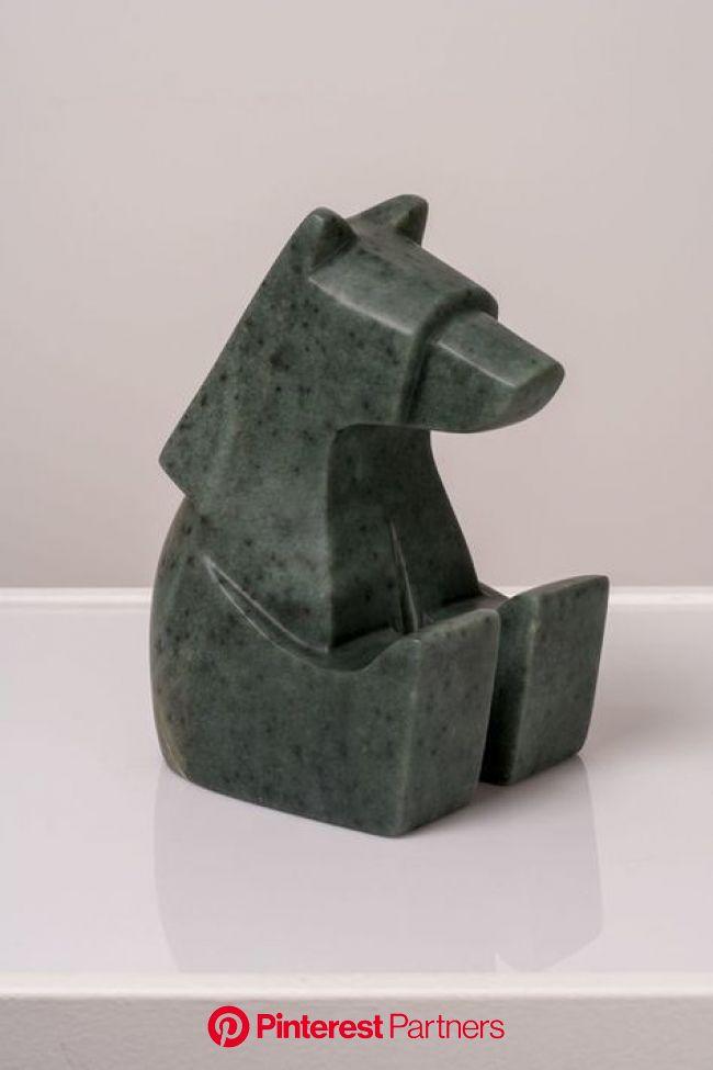 "The Content Sitting Bear Canadian Soapstone 5"" W x 5"" L x 8"" H Jason Carter, 2018 SOLD | Ceramic sculpture, Stone carving sculpture, Ce"