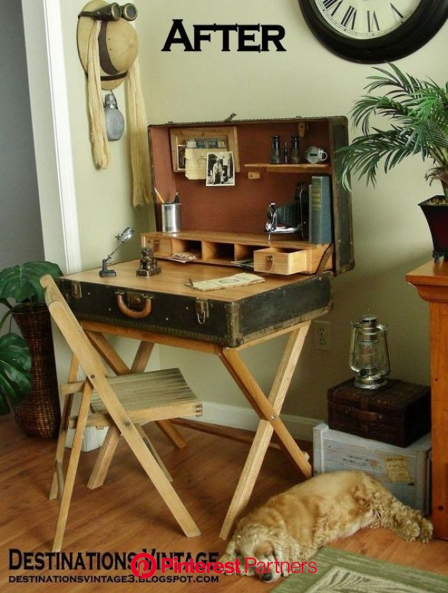 How to Make a Suitcase Desk From a Wardrobe Trunk DIY   Furniture diy, Repurposed furniture, Diy furniture