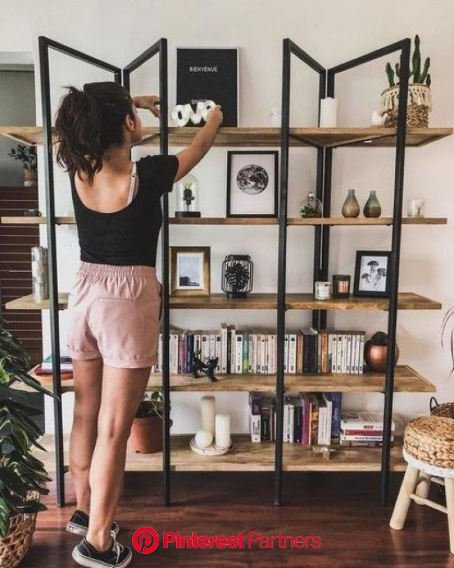 Industrial Shelving Unit Of Wood And Metal | Industrial home design, Loft style furniture, Industrial shelving units