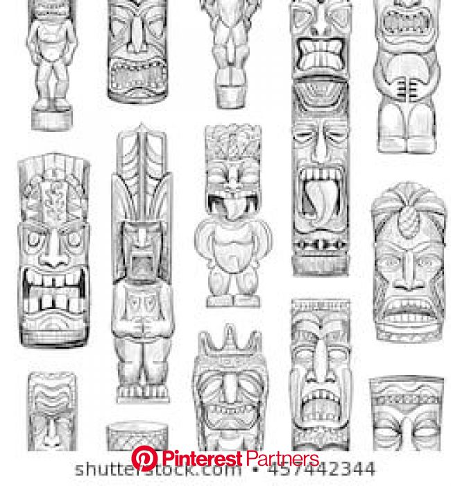 Vector Collection Sketches Hawaiian Tiki Idols Stock Vector (Royalty Free) 454066222 | Tiki art, Tiki tattoo, Tiki totem