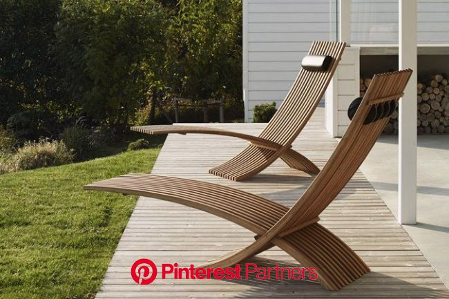 From Skargaarden, the Nozib Teak Lounger has a design that is both sleek and airy, and i… | Small patio furniture, Modern outdoor furniture, Modern ga