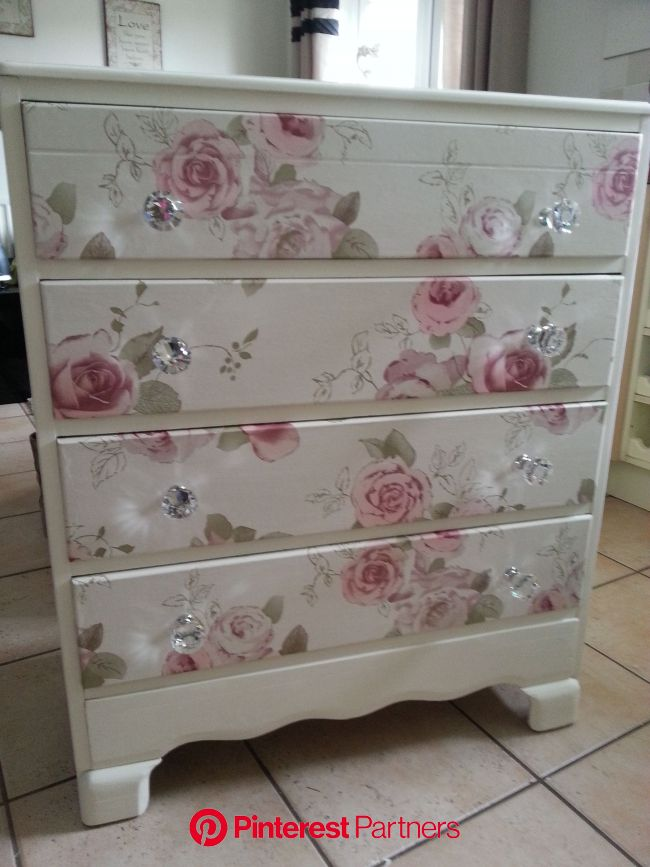 Beautiful old draws refurbished..using craig n rose pale cream. draw fronts covered in a vintage f… in 2020 | Shabby chic dresser, Furniture makeover,