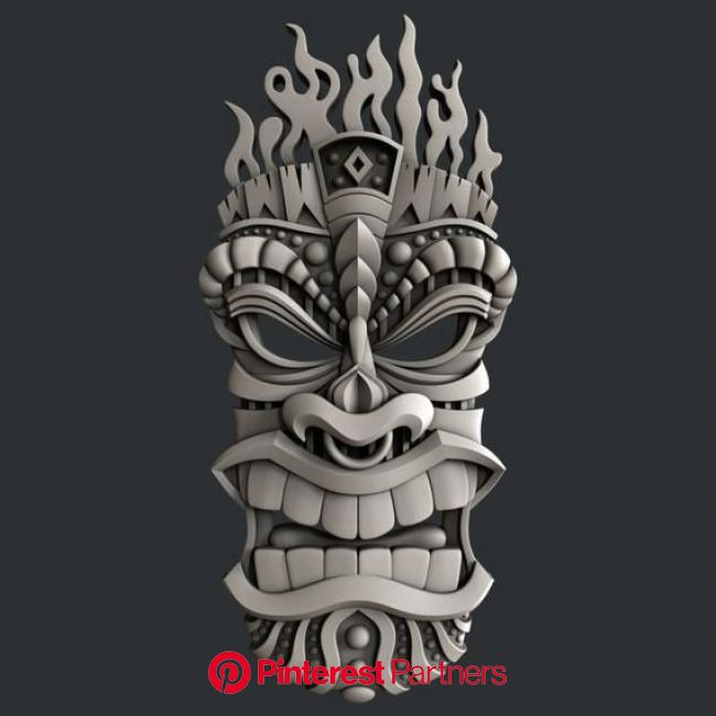 3d STL models for CNC totem | Etsy in 2021 | Tiki tattoo, Tiki art, Tiki faces