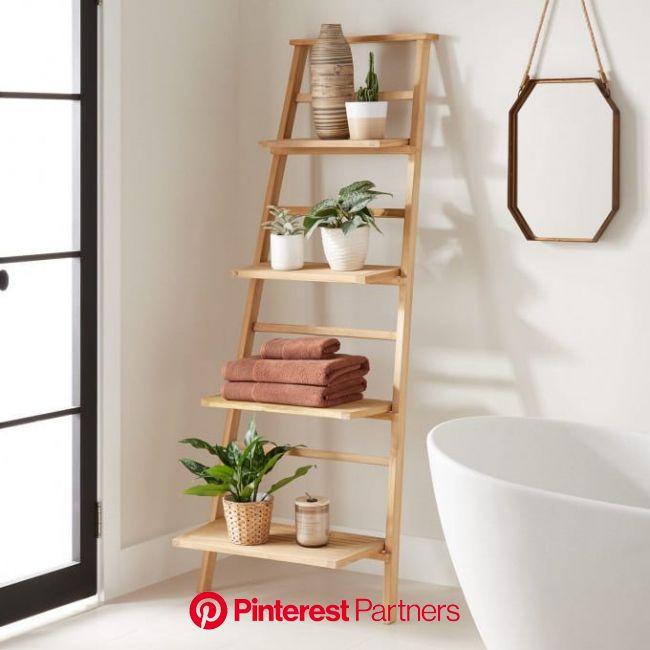 Teak Leaning Plant Stand - Bathroom | Diy bathroom storage, Shelves, Ladder decor