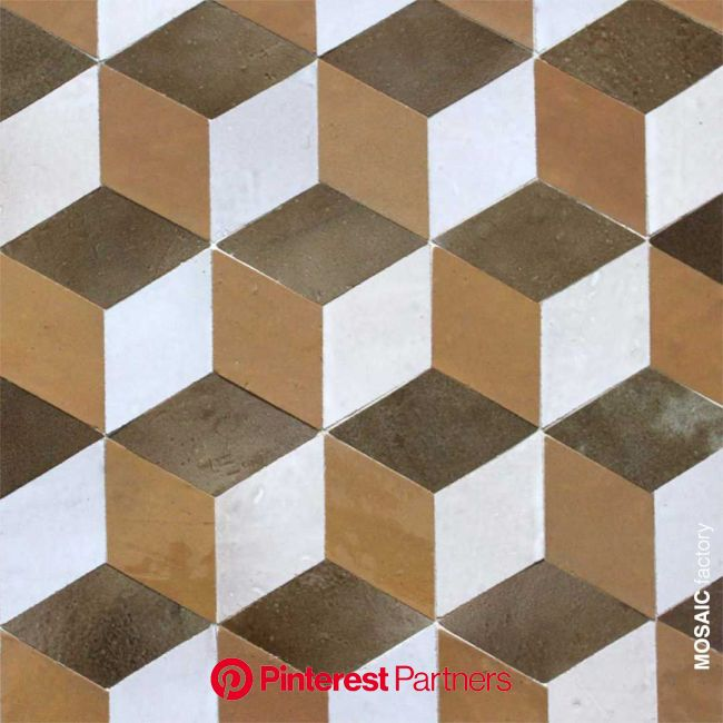 Zellige tiles in geometric cubic pattern in ochre, brown and white from Mosaic del Sur. Handmade morocc… | Marble flooring design, Ceramic decor, Wood