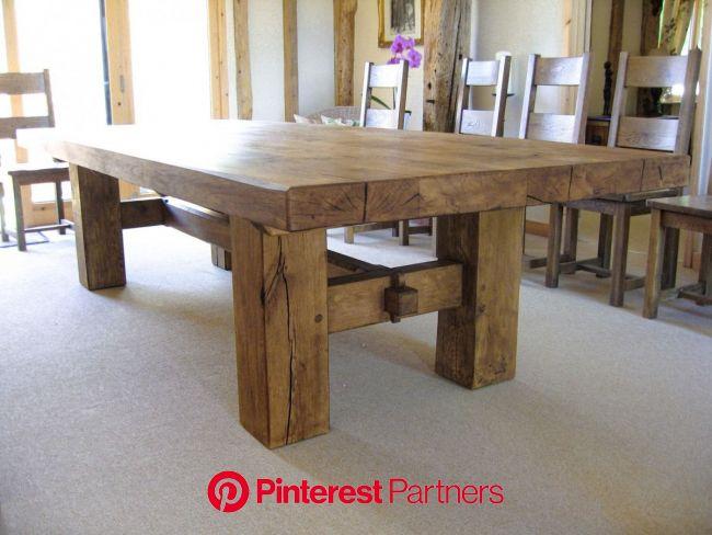 Oak Beam H Base Dining Table - Rustic Oak Furniture   Dining table rustic, Rustic dining room table, Rustic oak dining table