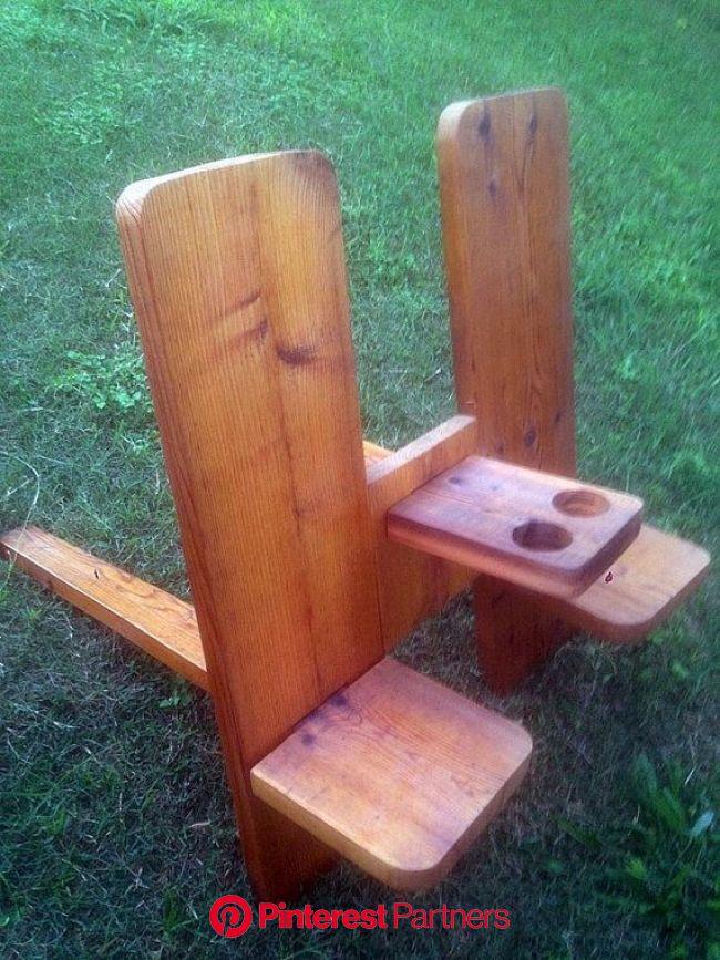 Silla doble tablón con brazo resto beber titulares | Diy outdoor furniture, Wood diy, Build outdoor furniture