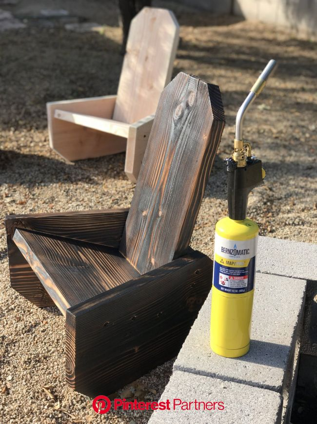 One Board Campfire Chairs | Shou Sugi Ban — the Awesome Orange | Wood chair diy, Diy woodworking, Woodworking projects