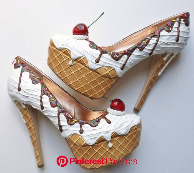 Shoe Bakery: You scream, I scream, we all scream for ice scream! Funky Wedding Bouquets | Heels, Ice cream shoes, Funky shoes