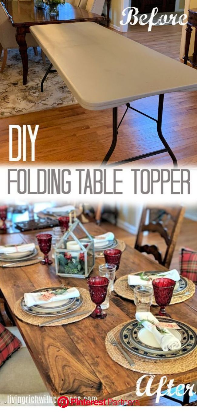 Diy Wood Folding Table Topper From Plastic Folding Table To Beautiful Wood Table Wooden Diy Table Toppers Wood Folding Table Wood Decor 2019 2020