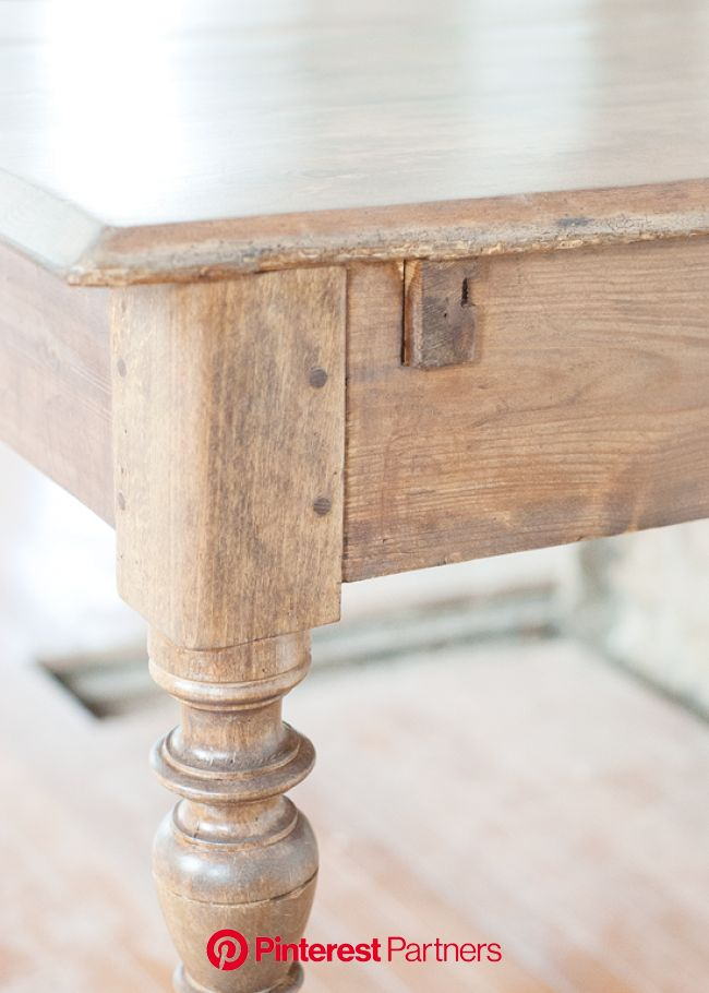 The Farmhouse Table: Stain and Finish | Stained table, Farmhouse kitchen tables, Furniture makeover