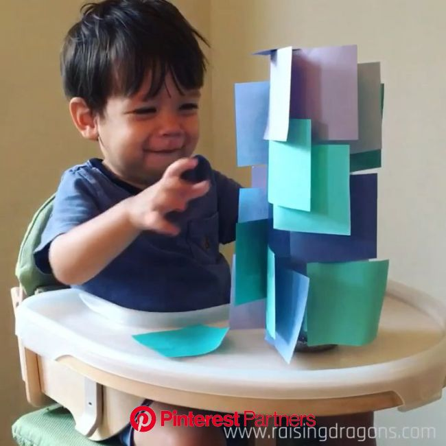 Sticky Note Tower * ages 1-2 ⋆ Raising Dragons [Video] | Fun activities for toddlers, Toddler learning activities, Toddler learning