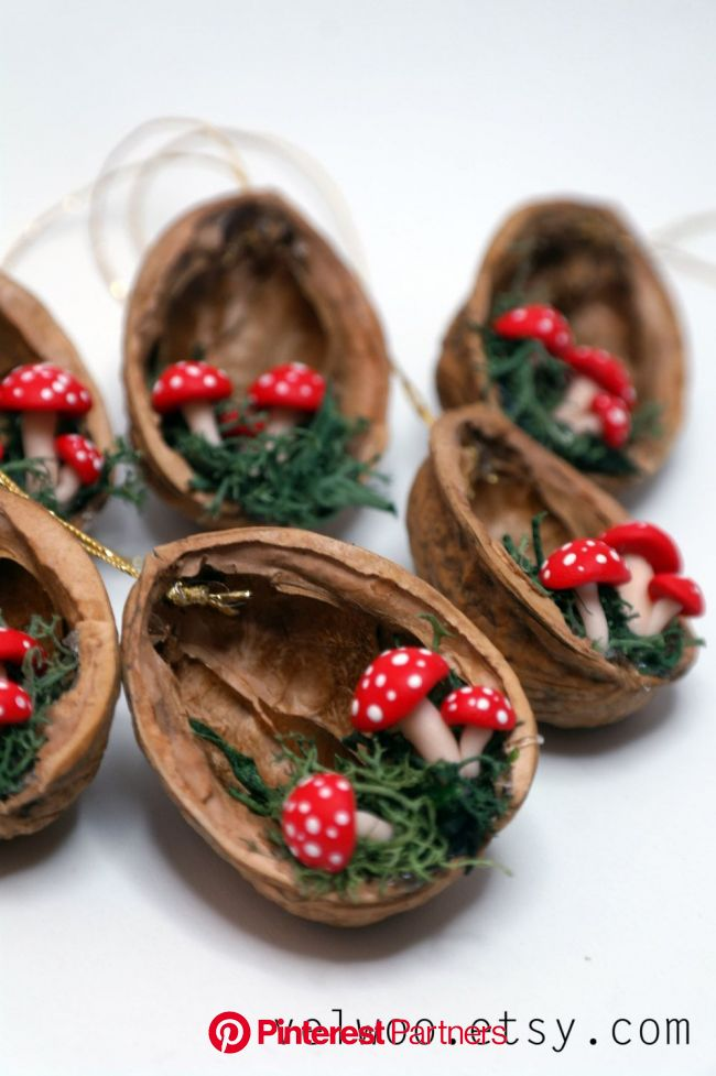 Mushroom Christmas Ornaments  walnut shell ornament    Etsy in 2021   Christmas ornament crafts, Christmas ornaments, Walnut shell crafts