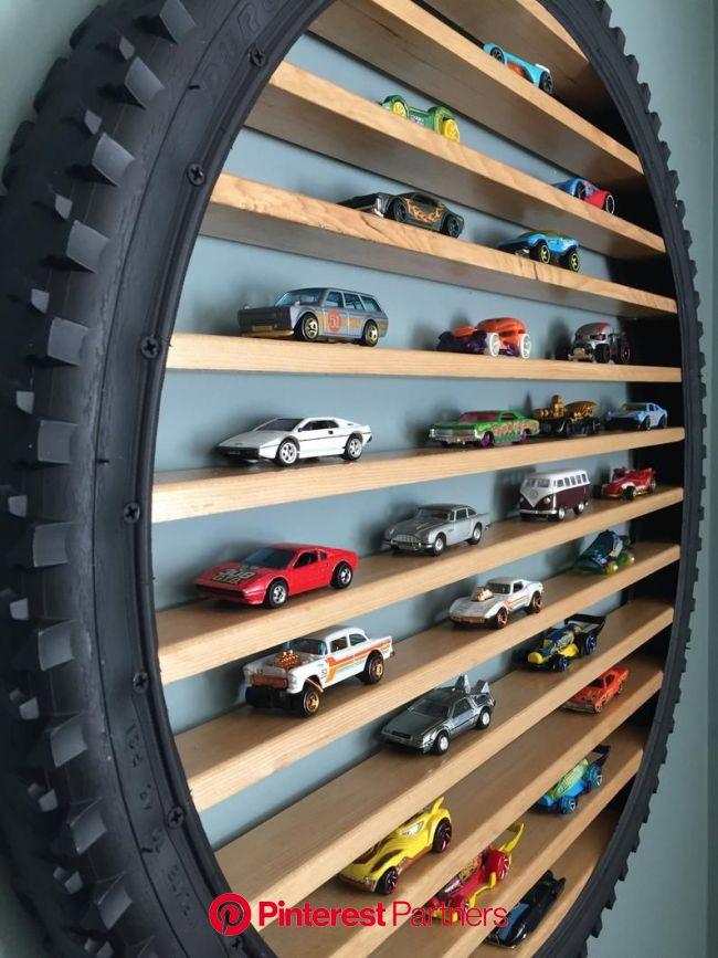 "ORIGINAL 26"" Cool Wheels Car Display Wall Art - signed by the artist! | Hot wheels room, Hot wheels storage, Matchbox cars display"