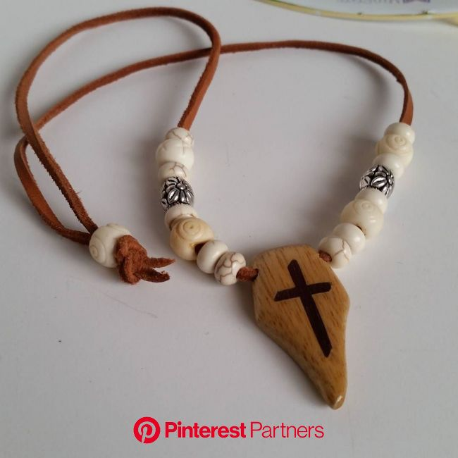 Handmade Necklace featuring wood inlaid wooden cross howlite bone and silver beads on leather cording Are you… | Wooden jewelry, Mens cross necklace,