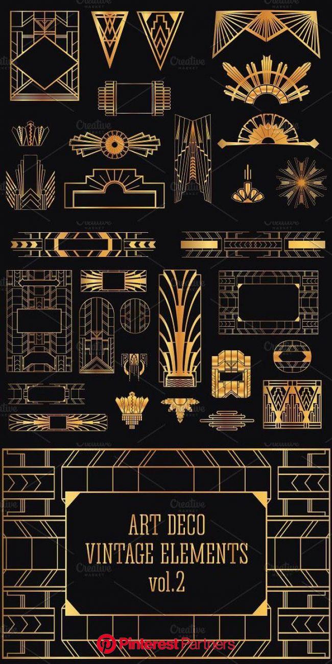 31 Art Deco Design Elements Vol.2 | Art deco artwork, Art deco illustration, Art deco pattern