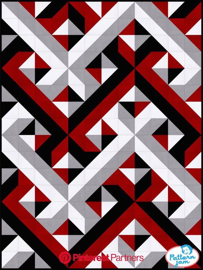 red black interwoven | Geometric quilt, Custom quilts, Modern quilt patterns