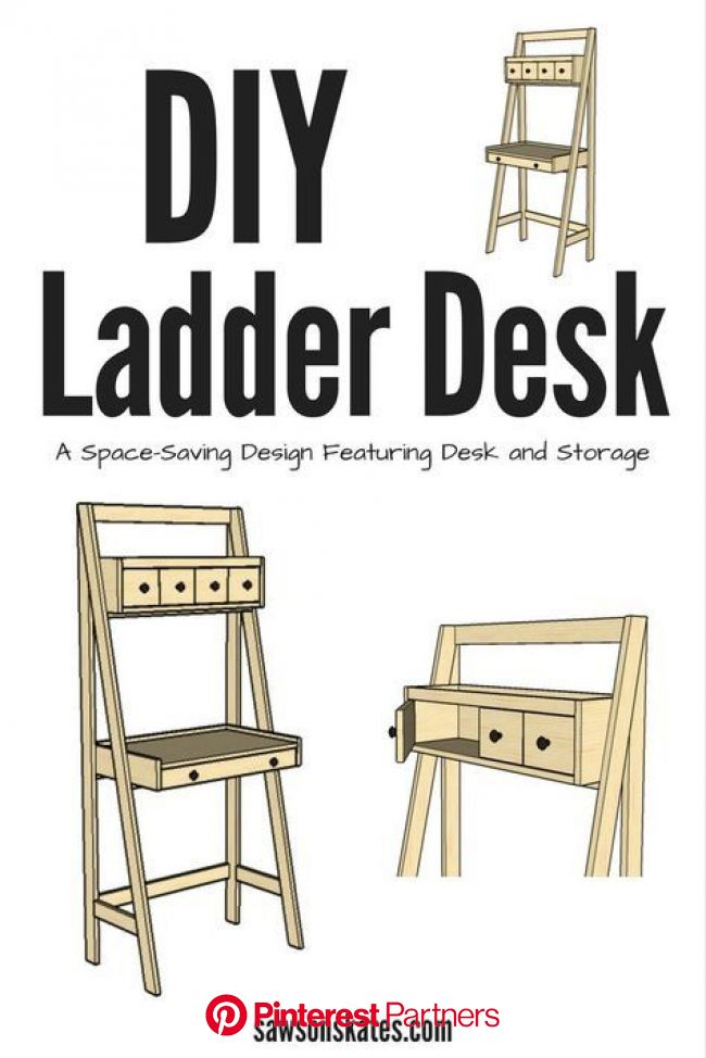 DIY Ladder Desk is a Work and Storage Space-Saver | Ladder desk, Diy ladder, Diy furniture plans
