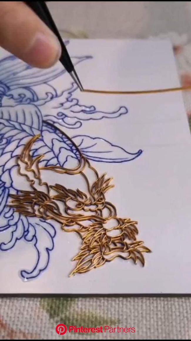 Handmade cloisonne-filigree art [Video]   Wire art sculpture, Copper wire art, Aluminum foil art