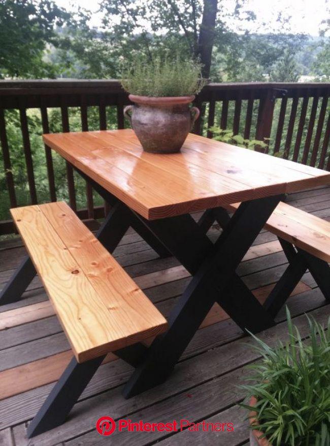 Classic Picnic Table w/ Black Legs | Diy picnic table, Painted picnic tables, Picnic table makeover
