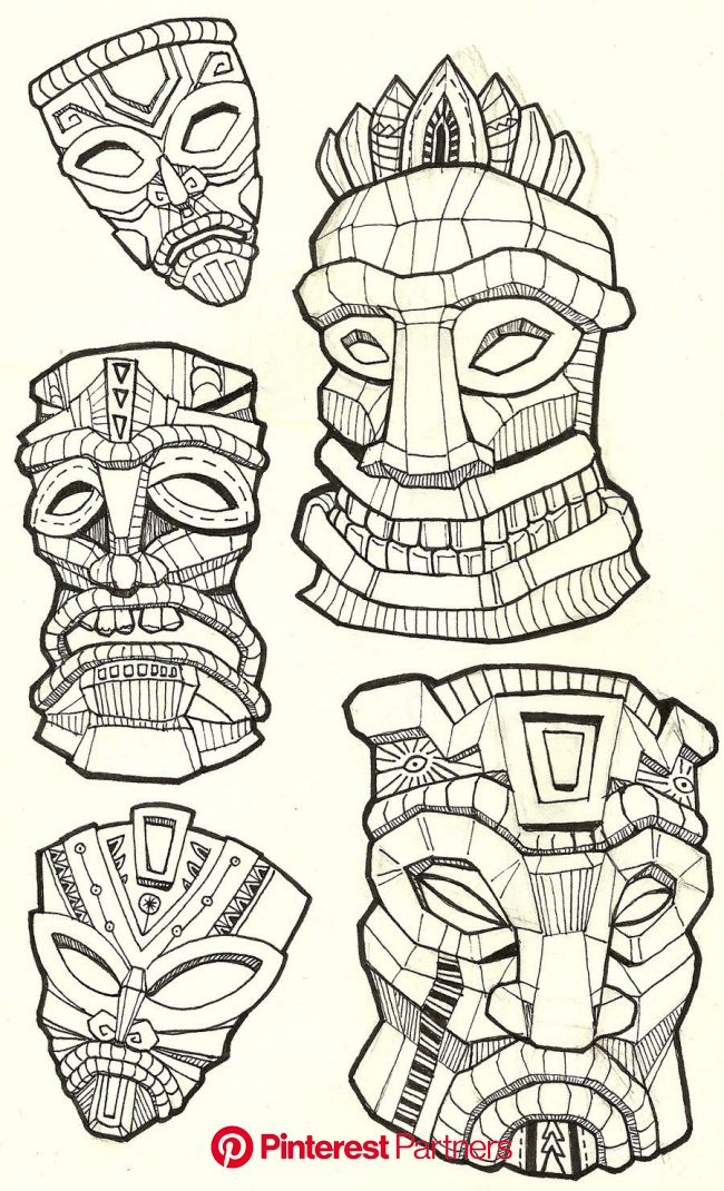 line art | Tiki tattoo, Tiki mask, Tiki art