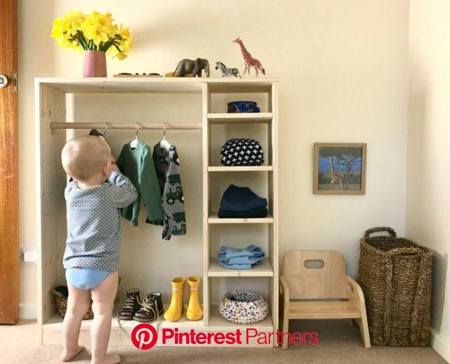 How we Montessori toddler wardrobe dressing space at 17 months | Montessori toddler rooms, Montessori toddler bedroom, Montessori infant room
