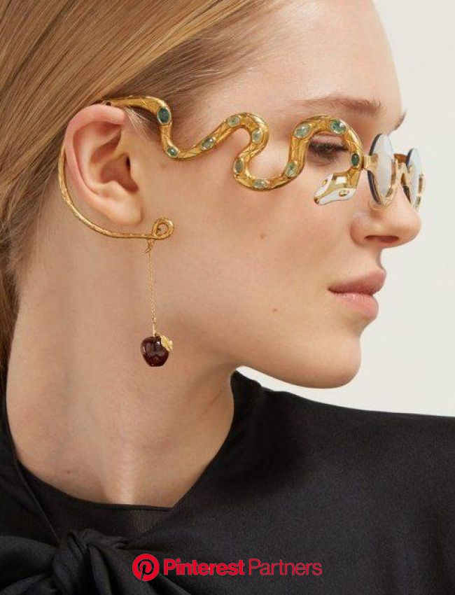 Eve emerald & diamond gold-plated glasses | Francis de Lara | MATCHESFASHION US #emerald #earrings #outfit | Glasses fashion, Snake jewelry, Fashi