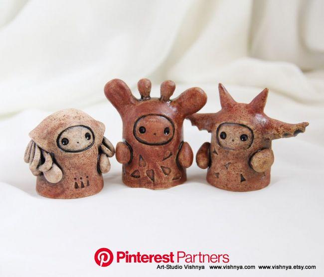 3 OOAK Small kindly cute Spirits | Cute clay, Clay figures, Clay art