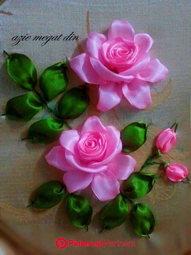 rosas en cinta | Tutorial bordado de cintas, Bordados en cinta, Flores bordadas en cinta