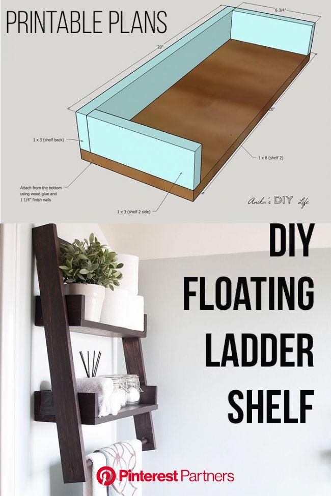 DIY Floating Ladder Shelf - with Plans | Floating shelves diy, Ladder shelf, Diy shelves