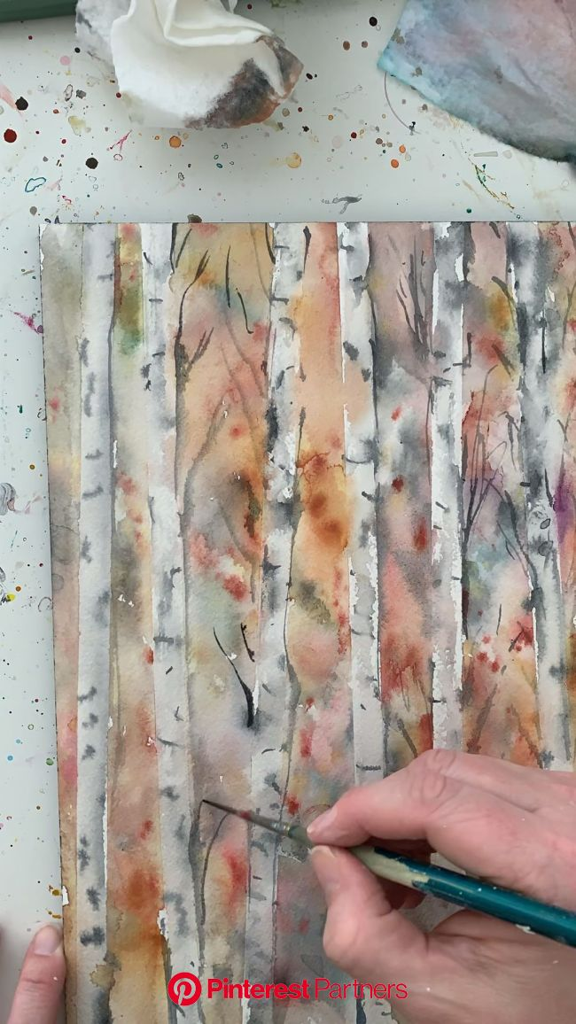 Process video of birch tree watercolor painting by Lindsay Megahed | Tree watercolor painting, Watercolor trees, Watercolor painting techniques