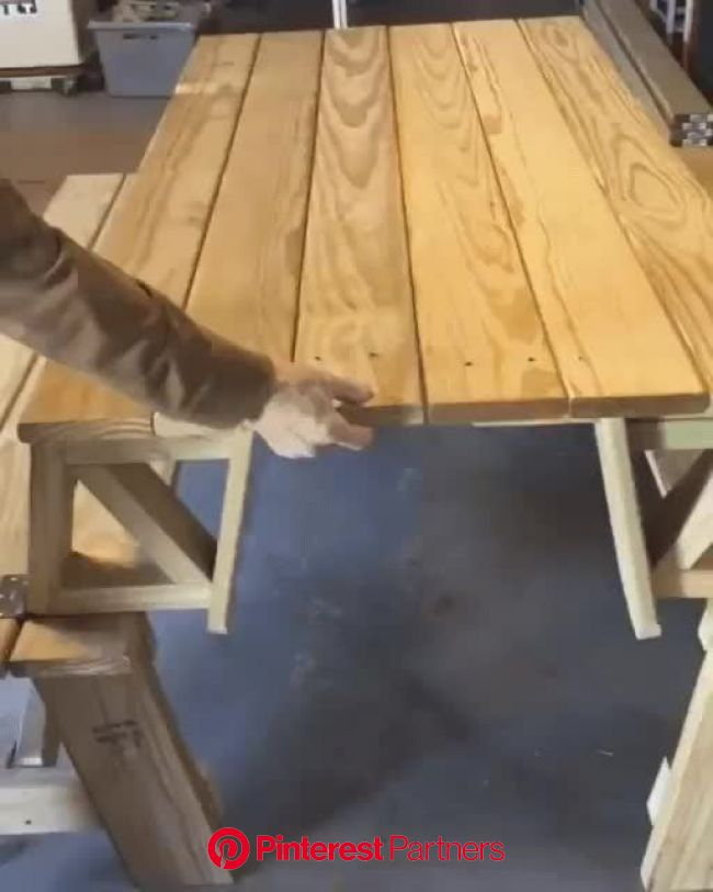 Picnic table to bench | Wood diy, Woodworking, Furniture diy