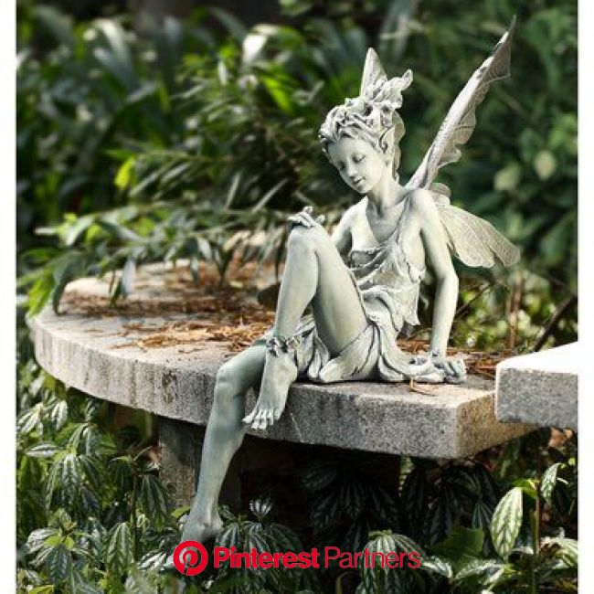 "Trinx Garden Sitting Fairy, Resin/Plastic in Green, Size 24""H X 8""W X 24""D 
