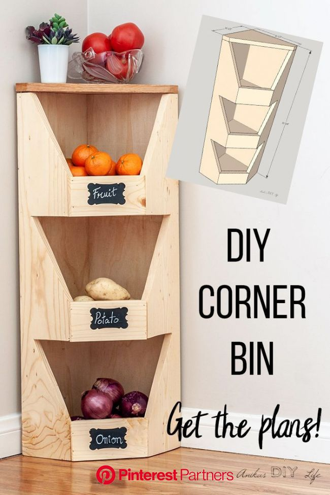 DIY Corner Vegetable Storage Bin Plans (With images) | Diy vegetable storage, Vegetable storage bin, Beginner woodworking projects