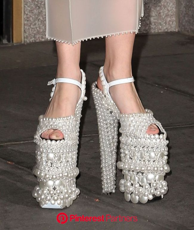 What Did Lady Gaga Wear Today? (Gigantic Pearl Shoes Edition) | Lady gaga shoes, Pearl shoes, Funny shoes