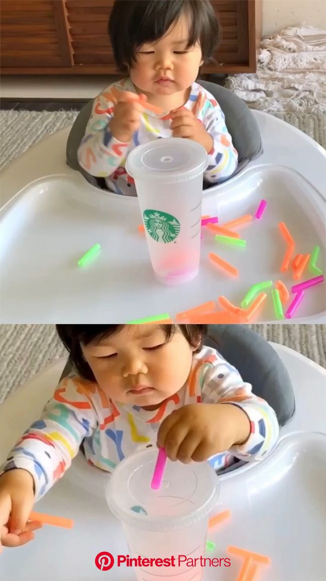 Cup and Straw Fine Motor Skills Activity [Video] [Video] in 2020 | Infant activities, Toddler activities, Fine motor skills activities