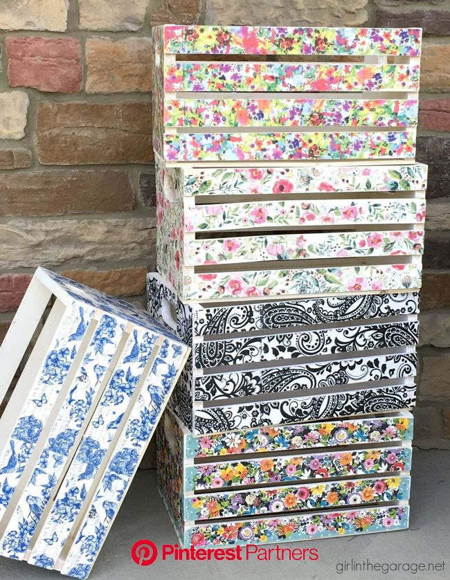 Decoupage Napkin Crates, Framed Cork Boards, and Drawer Shelves - Girl in the Garage®   Crate crafts, Decoupage diy, Decoupage wood