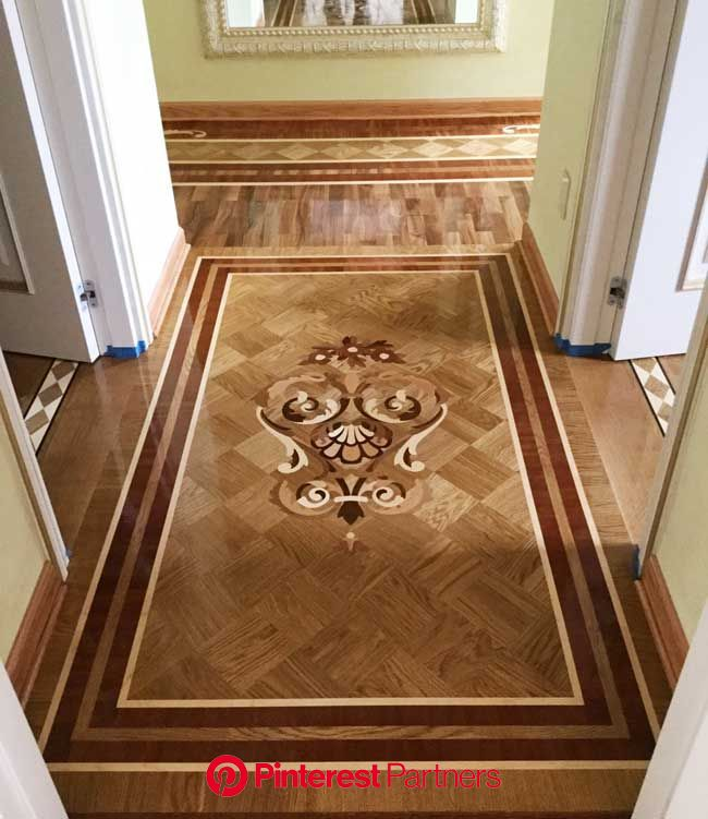 Picture of Hallway wood inlay design, ID518. Example of custom floors, medallions, inlays, borders and … | Marble inlay floor, Inlay flooring, Elegant