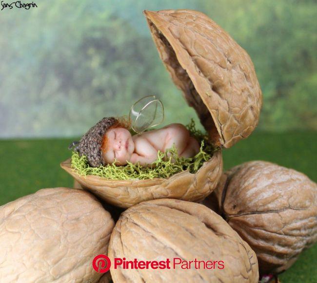 Miniature Polymer Clay Fairy Baby in Walnut Shell   Polymer clay fairy, Clay fairies, Baby fairy