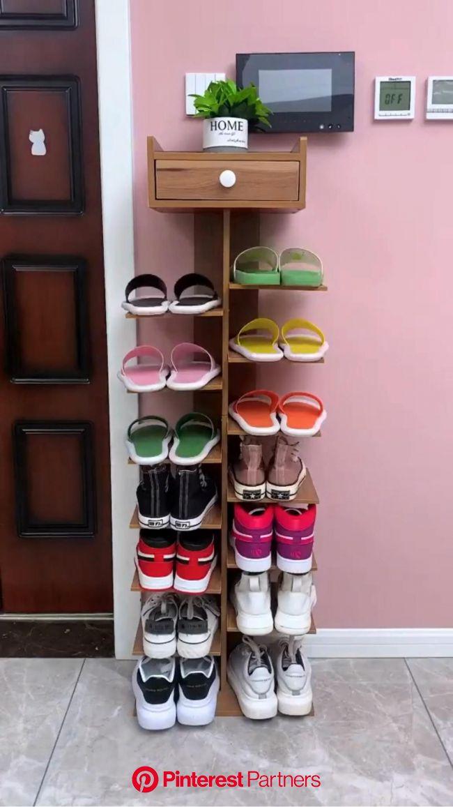 Wooden Shoe Rack, Sturdy Multifunction Shoe Organizer [Video] | Shoe rack, Wooden shoe racks, Wooden shoes
